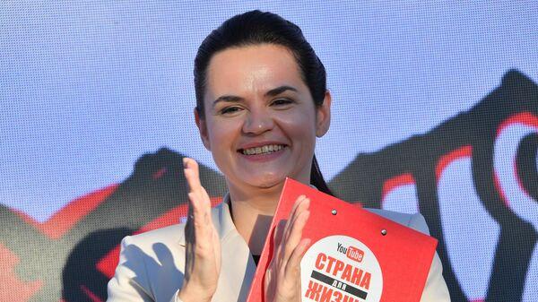 Кандидат в президенты Белоруссии Светлана Тихановская во время митинга-встречи с избирателями в городе Борисове