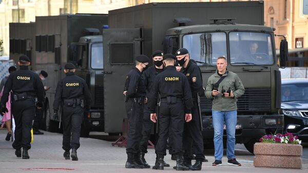 Сотрудники ОМОН Белоруссии в Минске