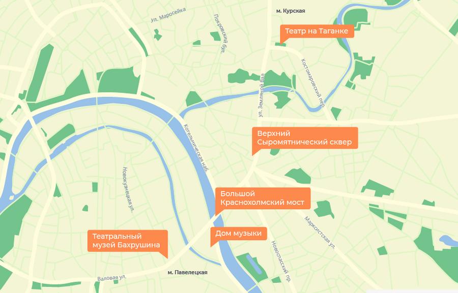 Карта Садового кольца от Курской до Павелецкой