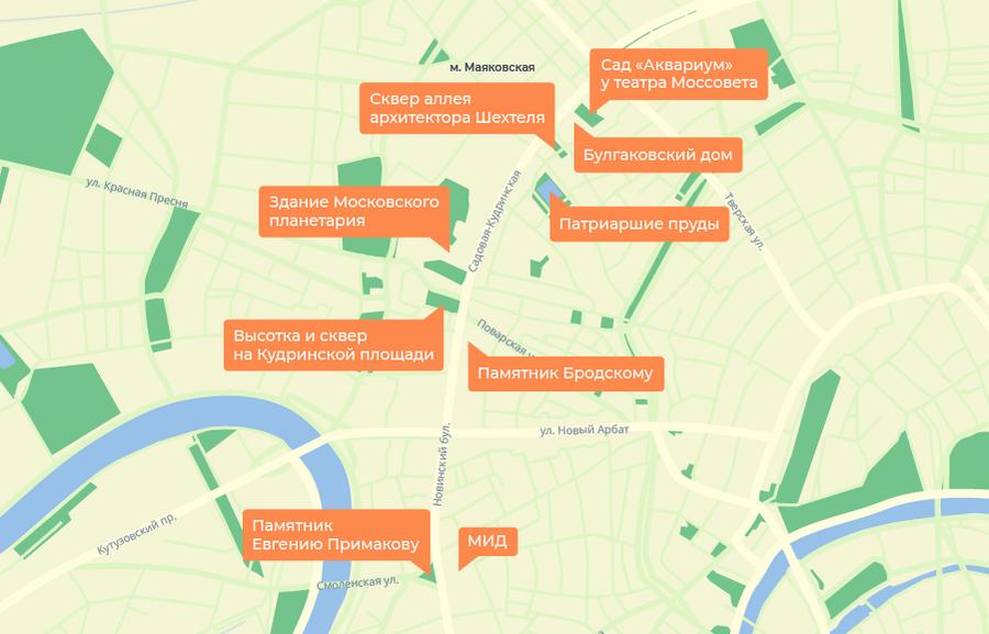 Карта Садового кольца от Парка культуры до Маяковской
