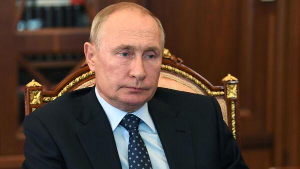 Президент РФ Владимир Путин во время встречи с президентом ПАО Ростелеком Михаилом Осеевским