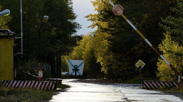 КПП при въезде на военный полигон Нёнокса в Архангельской области