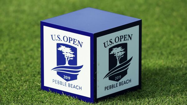 PEBBLE BEACH, CALIFORNIA - JUNE 10: A detailed view of a logo on a tee marker is seen during a practice round prior to the 2019 U.S. Open at Pebble Beach Golf Links on June 10, 2019 in Pebble Beach, California.   Andrew Redington/Getty Images/AFP