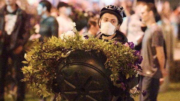 Участники акции протеста в Минске после президентских выборов