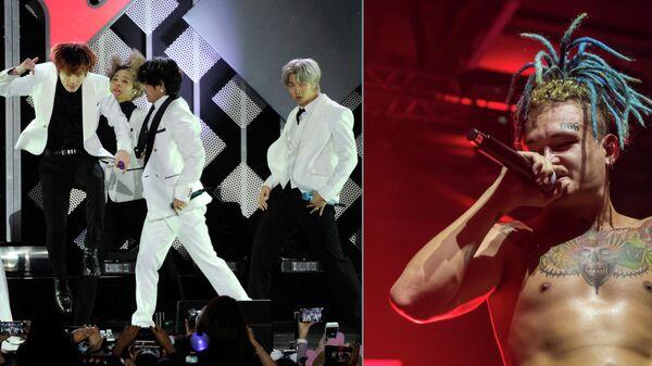 Южнокорейская k-pop группа BTS и российский музыкант Моргенштерн