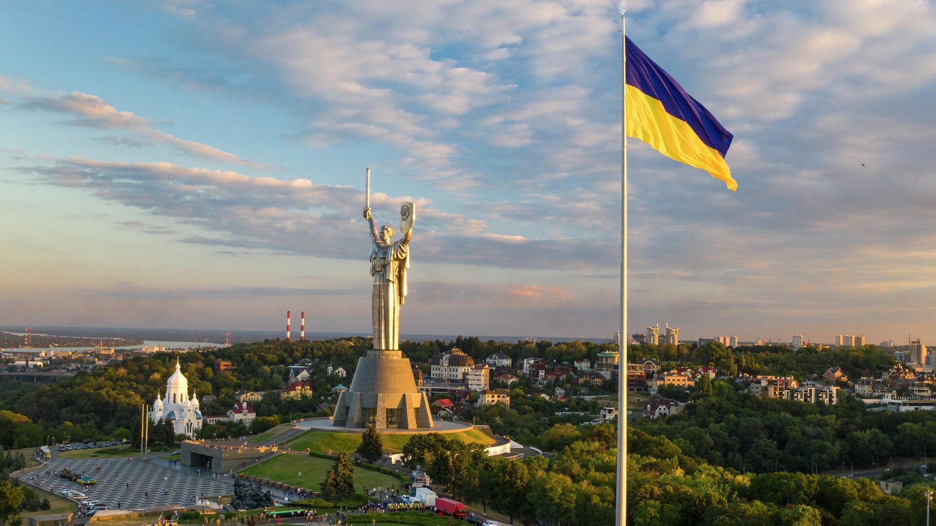 Самый большой флаг Украины в Киеве - РИА Новости, 1920, 19.01.2021