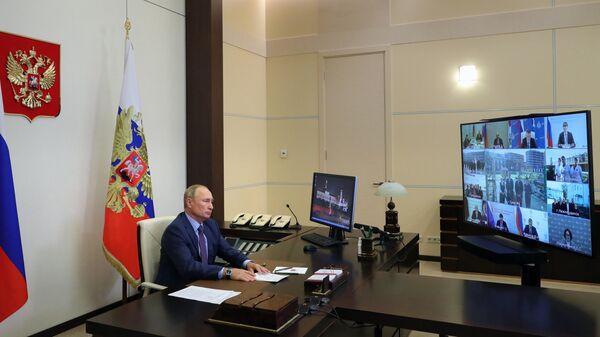 8 сентября 2020. Президент РФ Владимир Путин проводит совещание по вопросам ликвидации последствий наводнения в Иркутской области в 2019 году в режиме видеоконференции