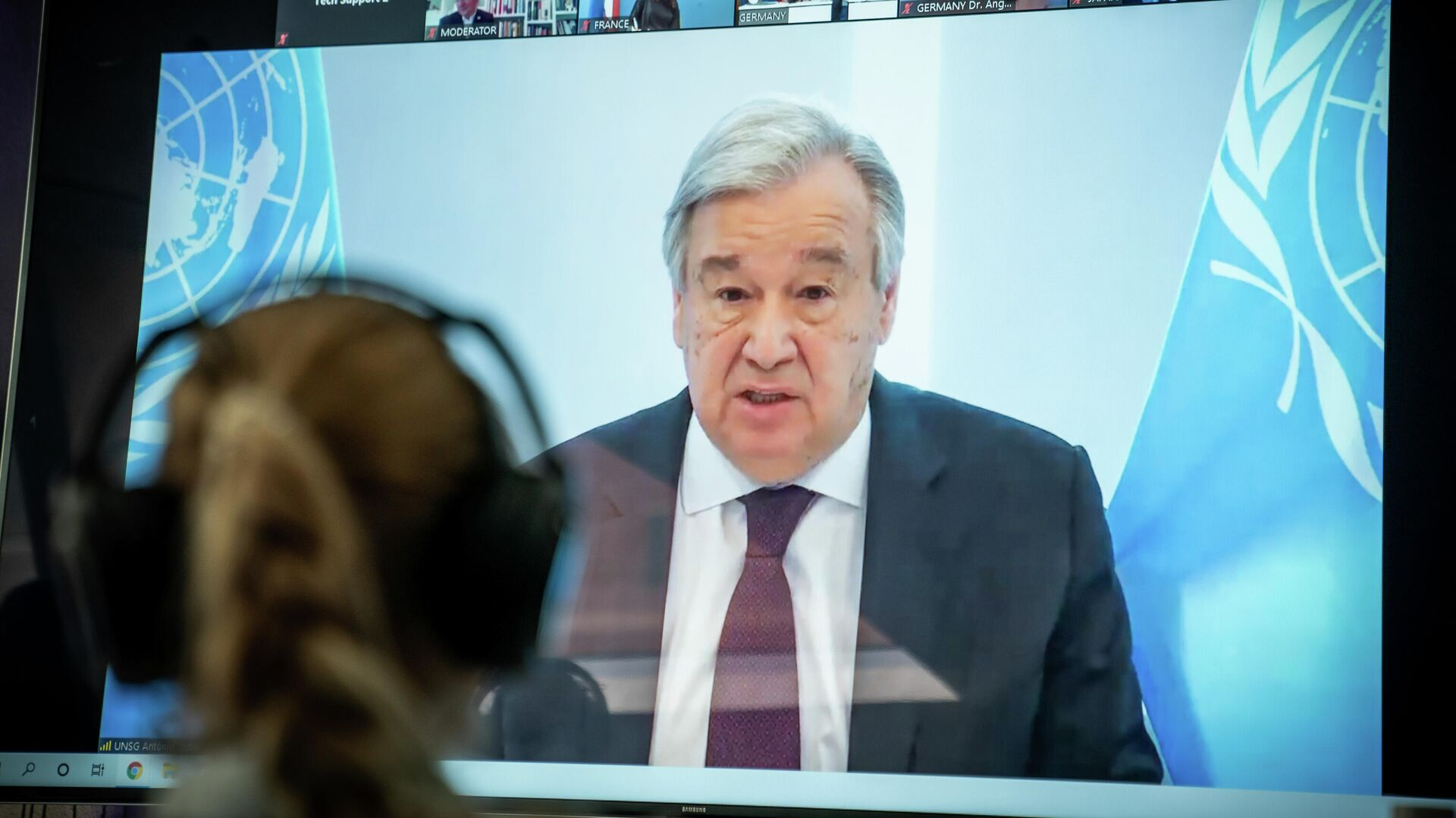 Генеральный секретарь ООНАнтониу Гутерриш выступает на онлайн-конференции. 28 апреля 2020  - РИА Новости, 1920, 10.09.2020