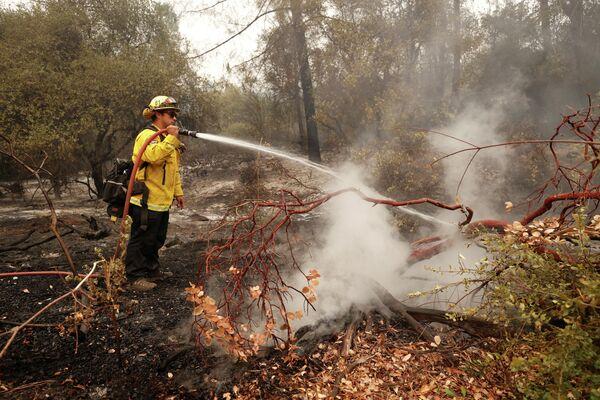 Пожарный возле водохранилища Оровилл в американском штате Калифорния