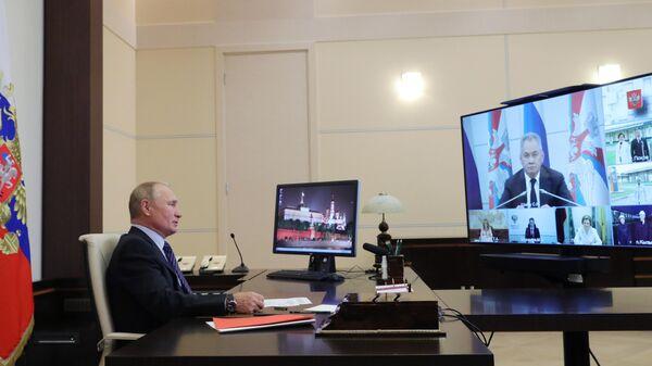 Президент РФ Владимир Путин принимает участие в режиме видеоконференции в открытии медицинских центров Министерства обороны РФ