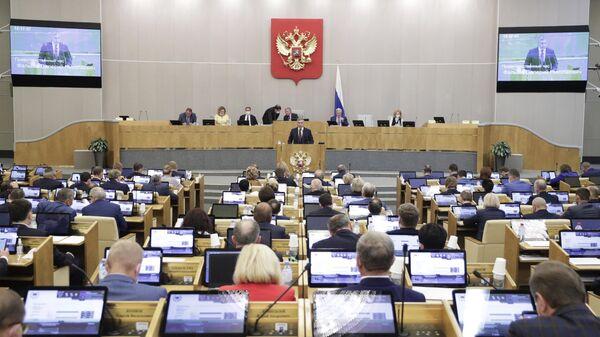 Министр науки и высшего образования РФ Валерий Фальков выступает на пленарном заседании Государственной Думы РФ