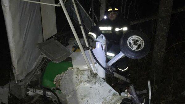 Работы на месте падения легкомоторного одноместного самолета в Пензенской области