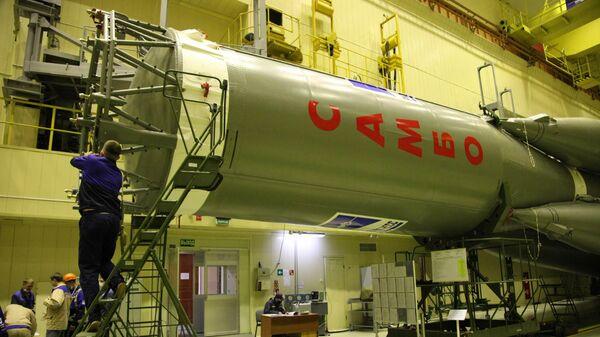 Ракета Союз-2.1а, украшенная символикой самбо