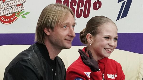 Александра Трусова и тренер Евгений Плющенко