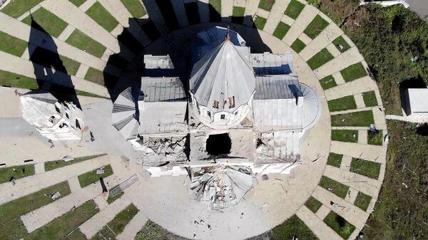 Кадр видео разрушенного в карабахском Шуши храма
