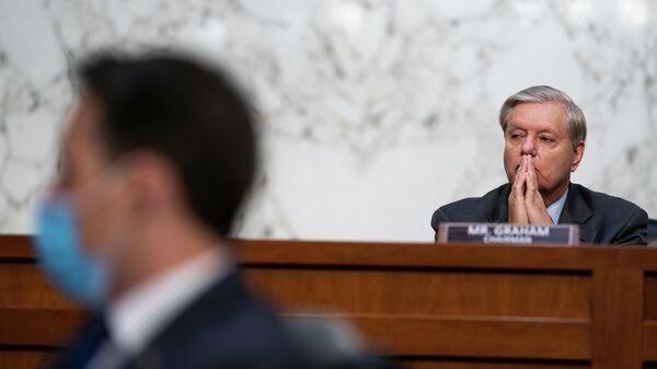 Сенатор Линдси Грэм во время заседания сенатского комитета по судебной системе в Вашингтоне
