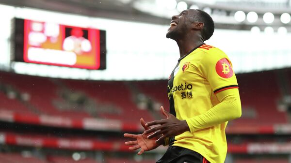 Watford's English striker Danny Welbeck reacts to a missed opportunity during the English Premier League football match between Arsenal and Watford at the Emirates Stadium in London on July 26, 2020. (Photo by Julian Finney / POOL / AFP) / RESTRICTED TO EDITORIAL USE. No use with unauthorized audio, video, data, fixture lists, club/league logos or 'live' services. Online in-match use limited to 120 images. An additional 40 images may be used in extra time. No video emulation. Social media in-match use limited to 120 images. An additional 40 images may be used in extra time. No use in betting publications, games or single club/league/player publications. /