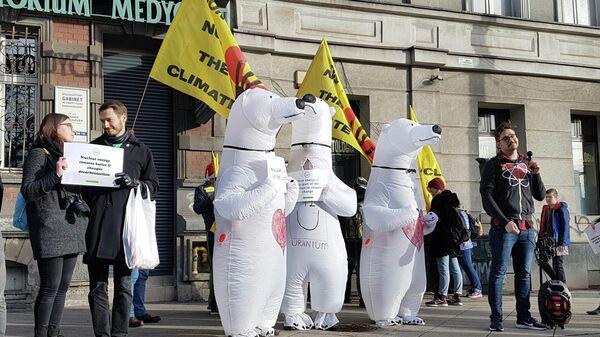 Активисты в костюмах белых медведей, выступающие за использование ядерной энергии взамен ископаемых видов топлива, во время климатического марша в Катовице, Польша