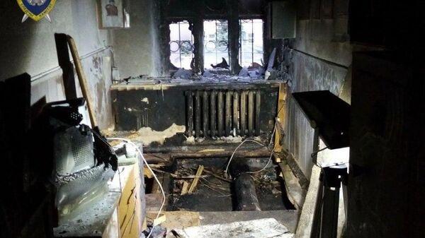 Сгоревшее здание ГАИ в Мозыре, Белоруссия