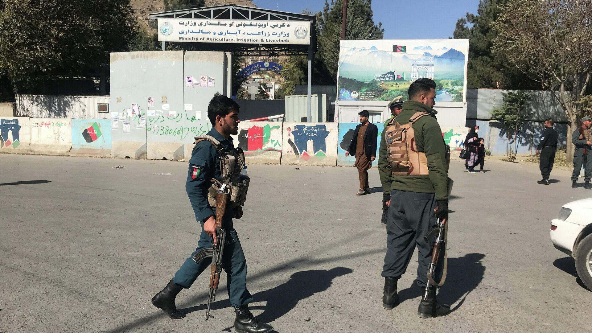 Афганские полицейские у места нападения на университет в Кабуле - РИА Новости, 1920, 01.12.2020