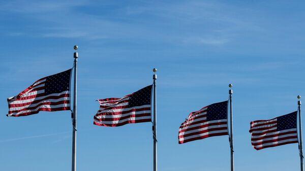 Флаги США неподалеку от здания Капитолия в Вашингтоне