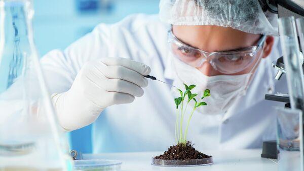 Ученый-биотехнолог в лаборатории