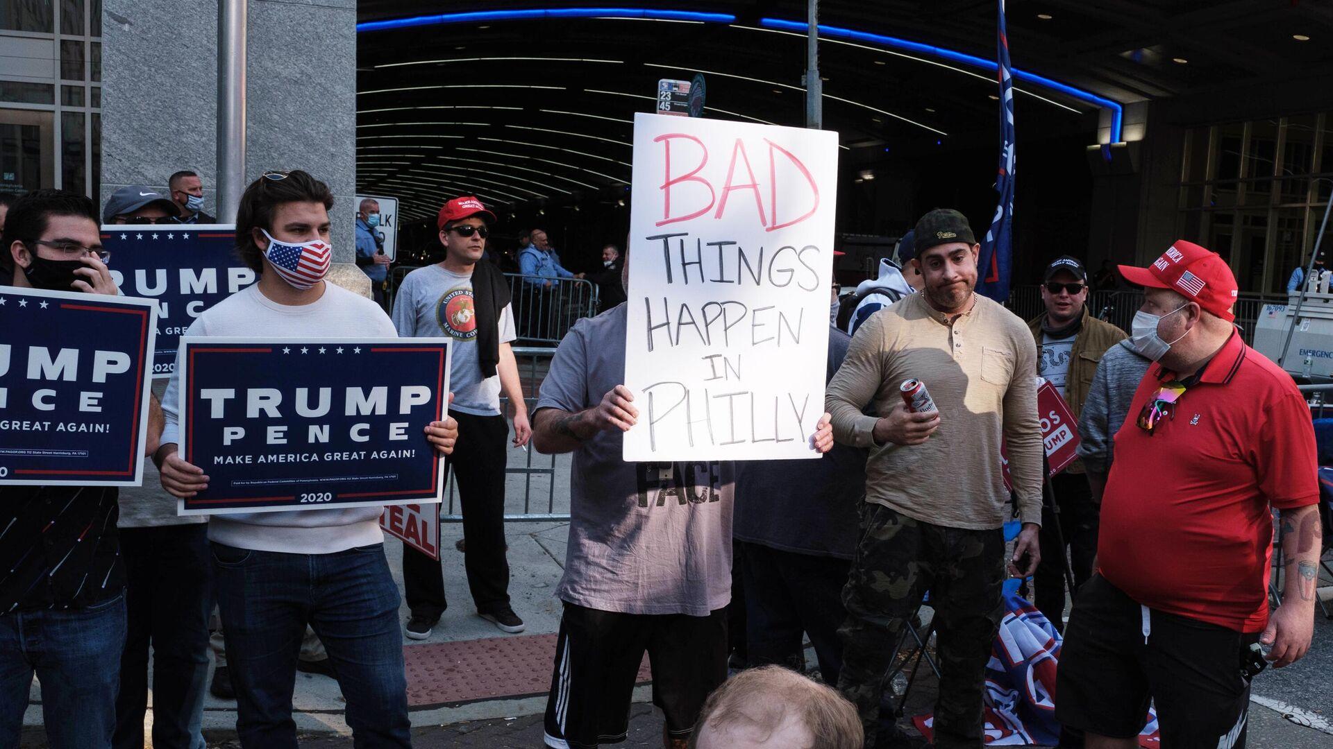 Сторонники президента США Дональда Трампа во время акции протеста перед Конгресс-центром в Филадельфии - РИА Новости, 1920, 08.11.2020