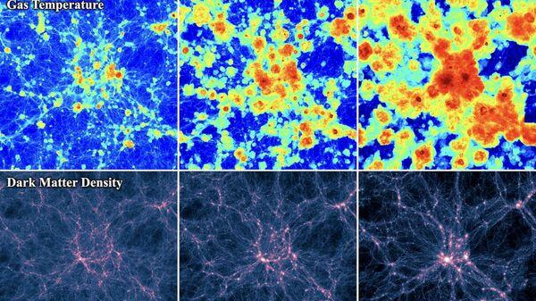 По мере развития Вселенной температура газовые ореолов, окружающих скопления материи, повышается