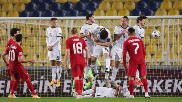 Игровой момент матча сборных России и Турции