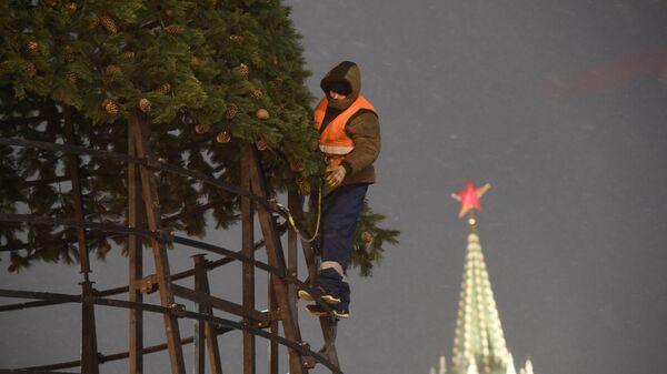 Рабочий устанавливает новогоднюю елку на Красной площади в Москве