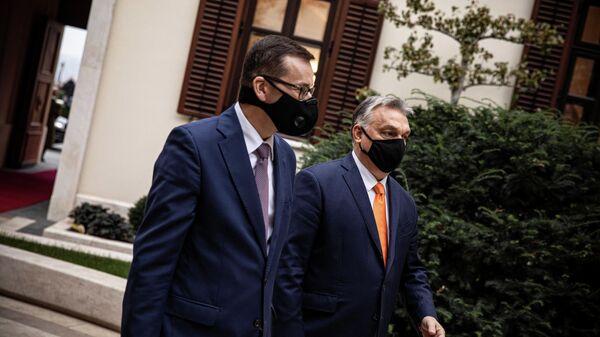 Премьер-министр Венгрии Виктор Орбан и премьер-министр Польши Матеуш Моравецкий в Будапеште. 26 ноября 2020 года
