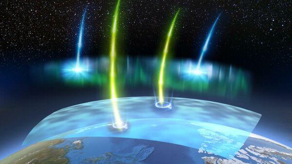 Электроны с низкой (синие) и высокой (желтые) энергией образуются в процессе, который генерирует пульсирующее полярное сияние. Релятивистские электроны высокой энергии вызывают локальное разрушение озонового слоя