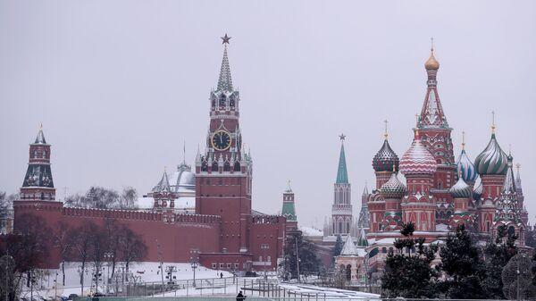 Вид из парка Зарядье на Покровский собор и Спасскую башню Московского Кремля