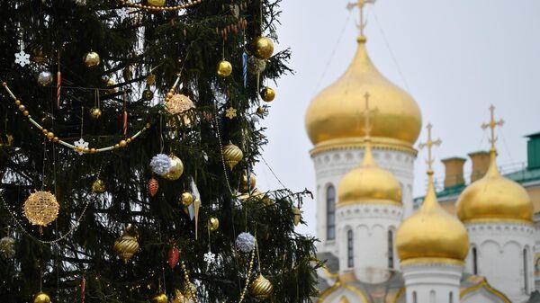 Украшение новогодней елки на Соборной площади Московского Кремля