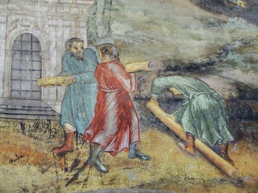 Церковь Димитрия на крови в кремле, фрагмент росписи о дне гибели царевича