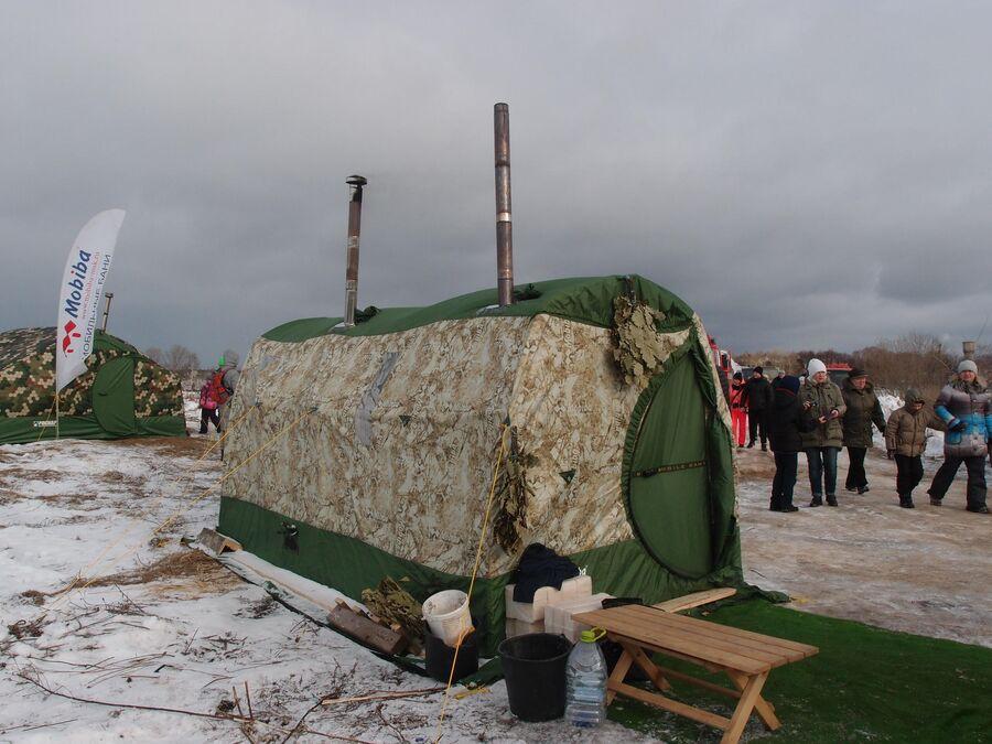 Мобильная баня на фестивале Зимние забавы