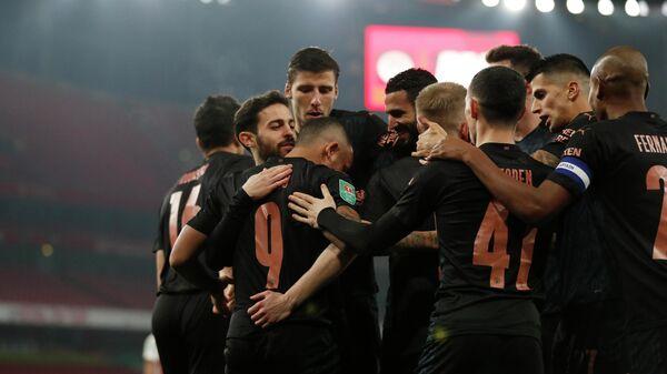 Футболисты Манчестер Сити в матче Кубка английской лиги
