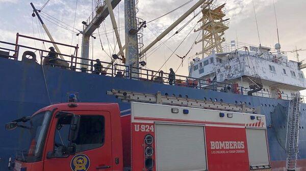 Ликвидация пожара на российском судне Свеаборг (Sveaborg)