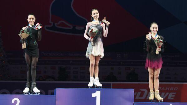Призеры соревнований в женском одиночном катании на чемпионате России по фигурному катанию в Челябинске