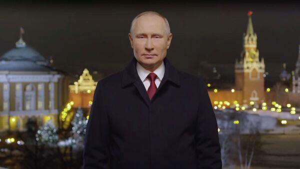 Кадр новогоднего обращения президента России Владимира Путина