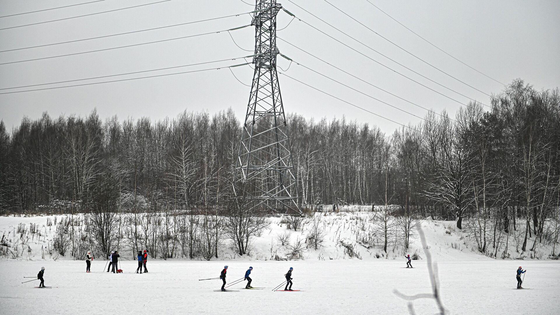 Люди катаются на лыжах в зоне отдыха Битца - РИА Новости, 1920, 10.01.2021