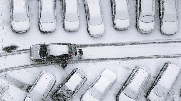 Автомобили, занесенные снегом, во дворе одного из жилых домов Москвы
