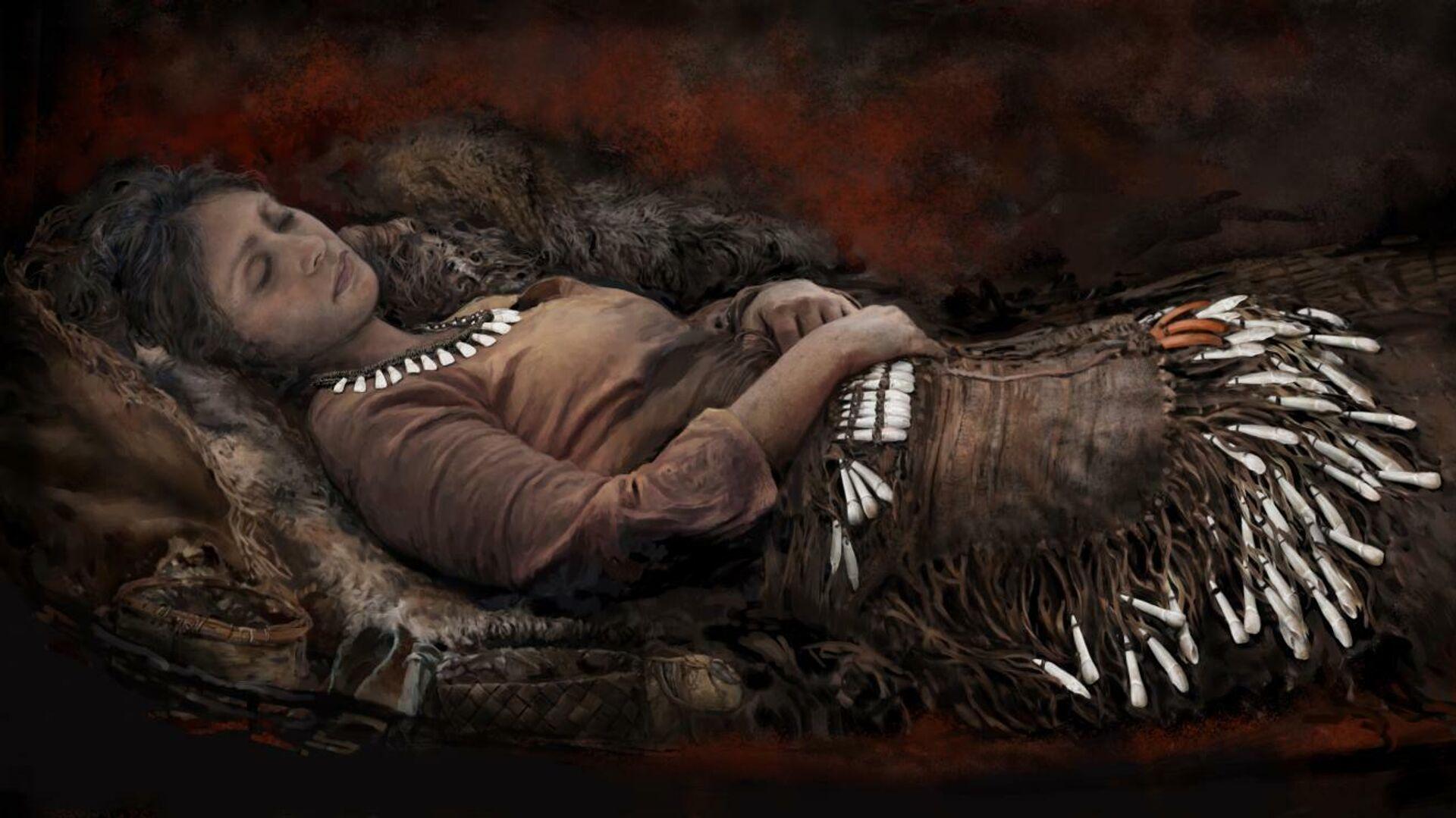 Реконструкция женщины, похороненной в одежде, украшенной зубами лося - РИА Новости, 1920, 15.01.2021