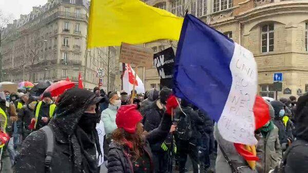 Плакаты, флаги, барабаны: первый в этом году Марш свободы в Париже