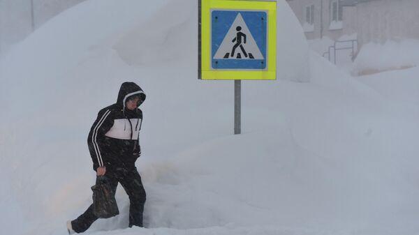 Снегопад в Норильске