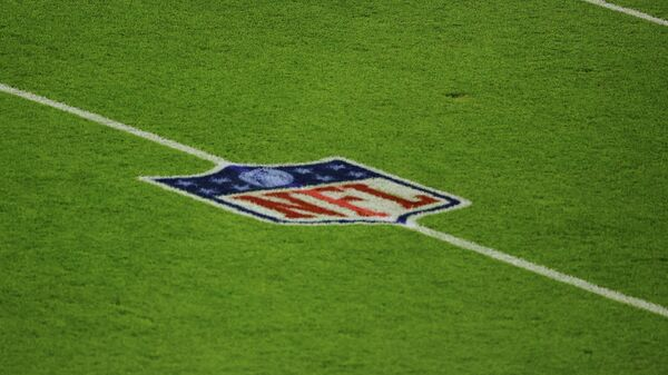 GREEN BAY, WISCONSIN - NOVEMBER 29: A general view of the NFL logo prior to a game between the Green Bay Packers and the Chicago Bears at Lambeau Field on November 29, 2020 in Green Bay, Wisconsin. The Packers defeated the Bears 45-21.   Stacy Revere/Getty Images/AFP