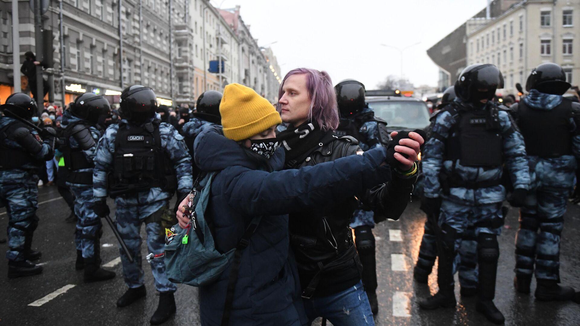 Участники несанкционированной акции сторонников Алексея Навального в Москве - РИА Новости, 1920, 30.01.2021
