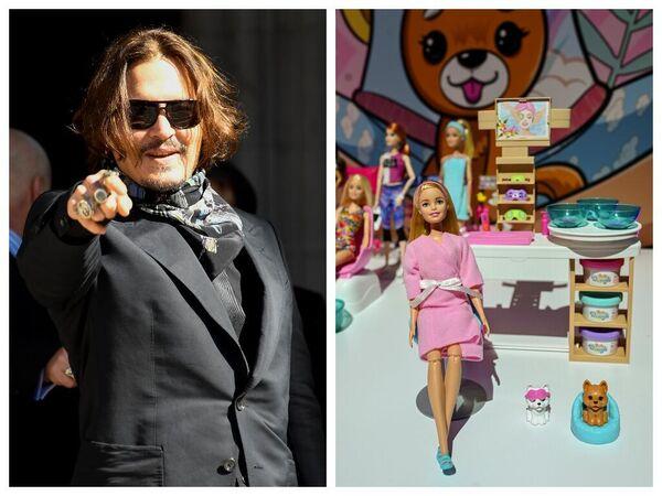 Актер Джонни Депп и куклы Барби