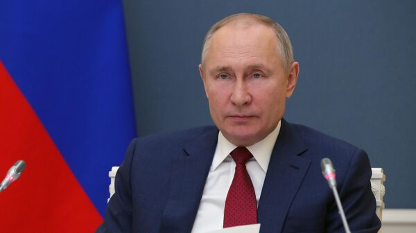 Президент РФ Владимир Путин выступает по видеосвязи на сессии Давосская повестка дня 2021 Всемирного экономического форума