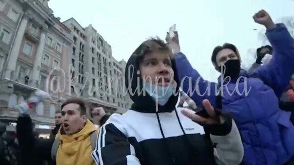 Прогулка блогера Кости Киевского на несанкционированный митинг в Москве